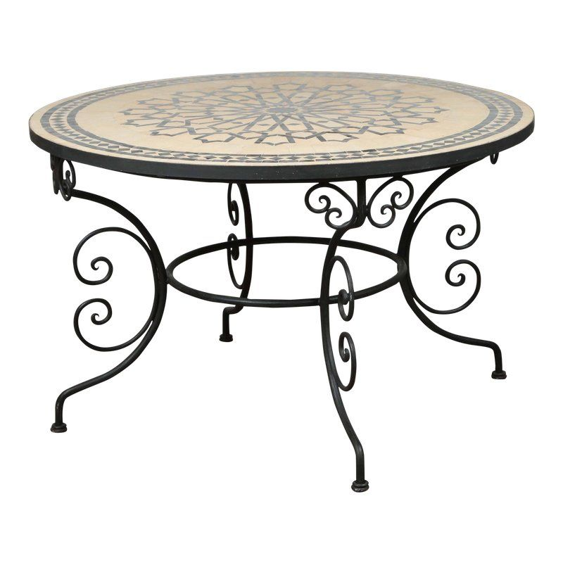 Late 20th Century Vintage Moroccan Outdoor Round Mosaic Tile Dining Table On Iron Base En 2020 Avec Images