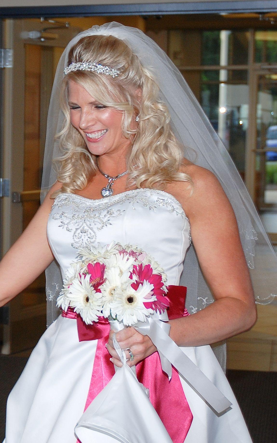 bride #hair #hair bump #formal hair #white #pink #hot pink