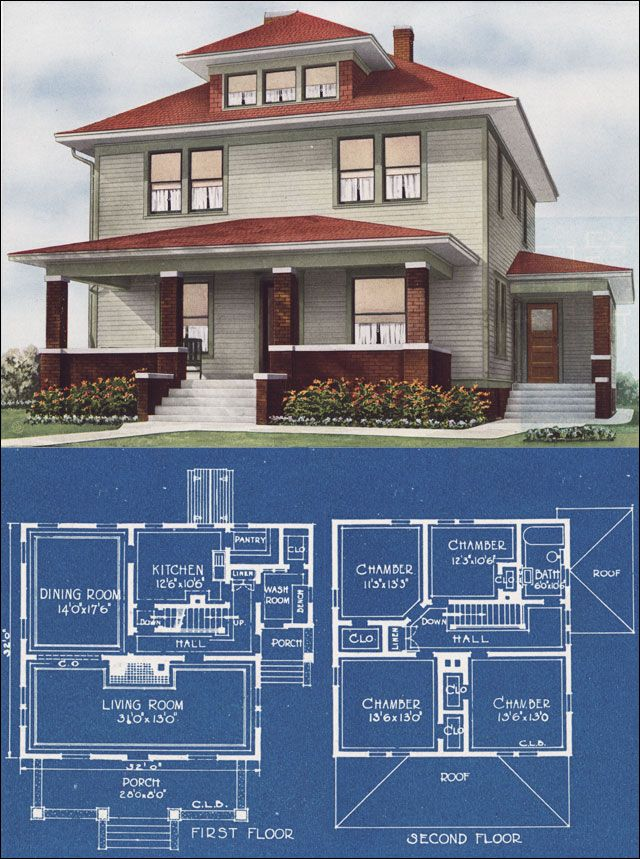Brilliant Modern Stucco Foursquare House Plan 1921 C L Bowes American Largest Home Design Picture Inspirations Pitcheantrous