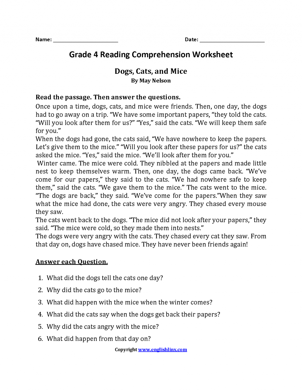 Worksheet Ideas Dogs Cats And Mice Fourth Grade Reading