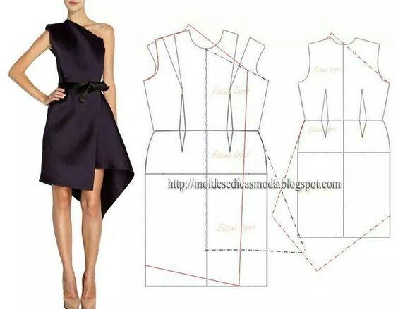 patron robe noire asymétrique: