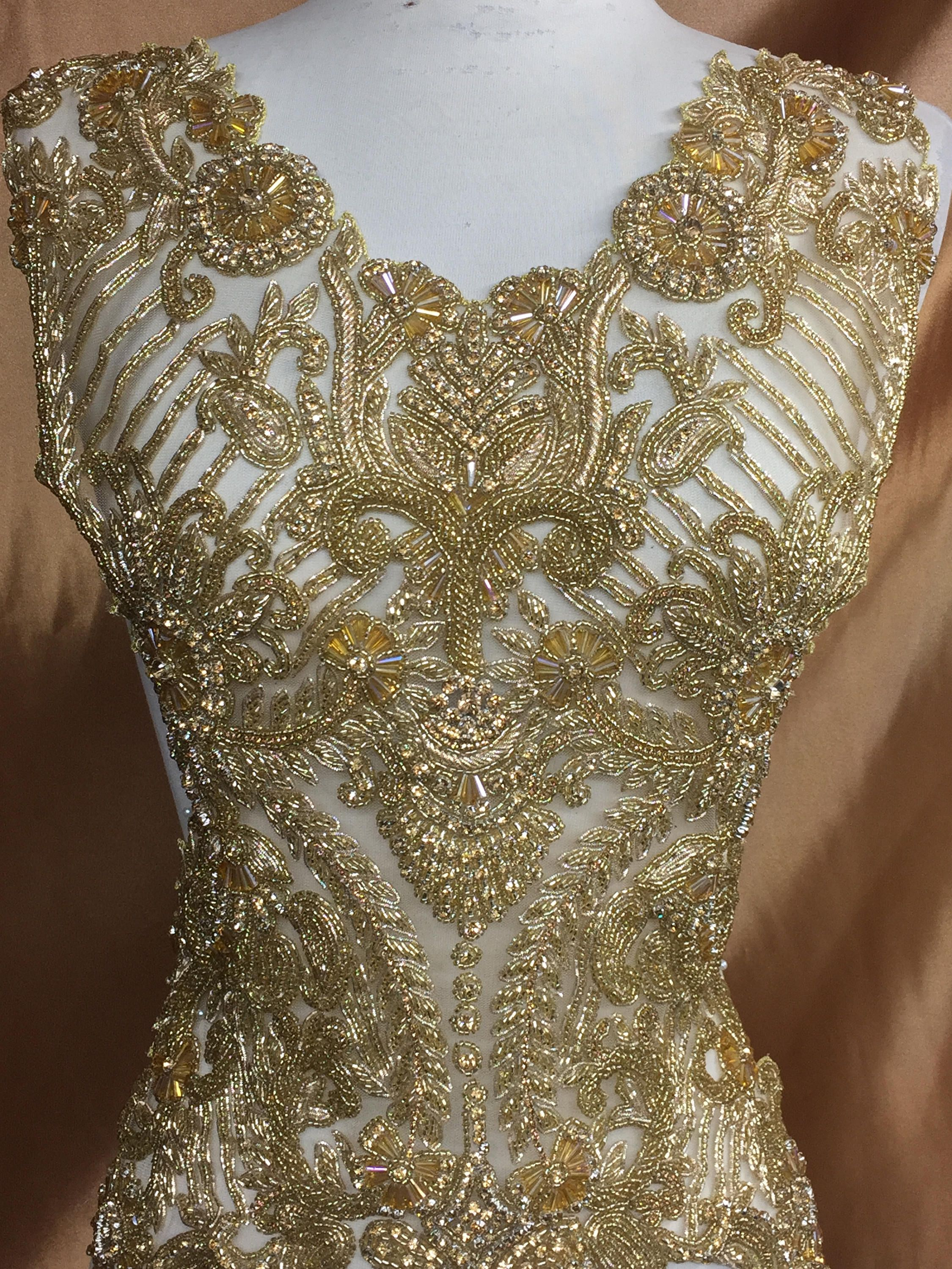 edb826c0bb Rhinestone Beaded Applique, Rhinestone Fabric, Wedding Dress ...