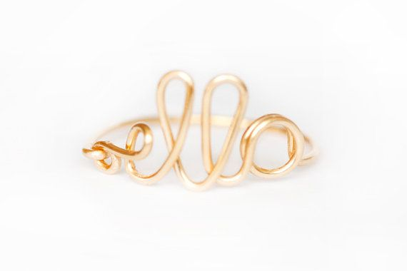 Gold or Silver Plated Wire Name Ring   Pinterest