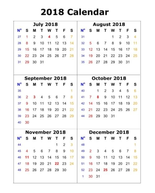 6 Month One Page Calendar 2018 Printable MaxCalendars Pinterest