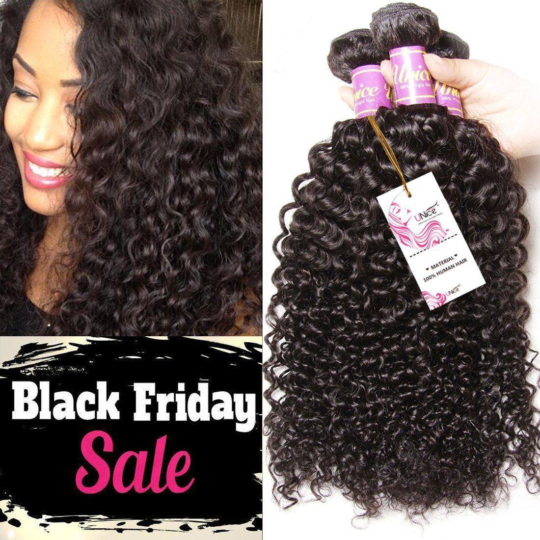 Unice Hair 3 Bundles Brazilian Curly Virgin Hair Weave 16 18