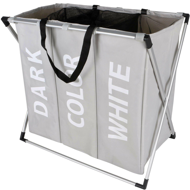 3 Section Laundry Sorter Hamper Clothes Storage Basket Organizer