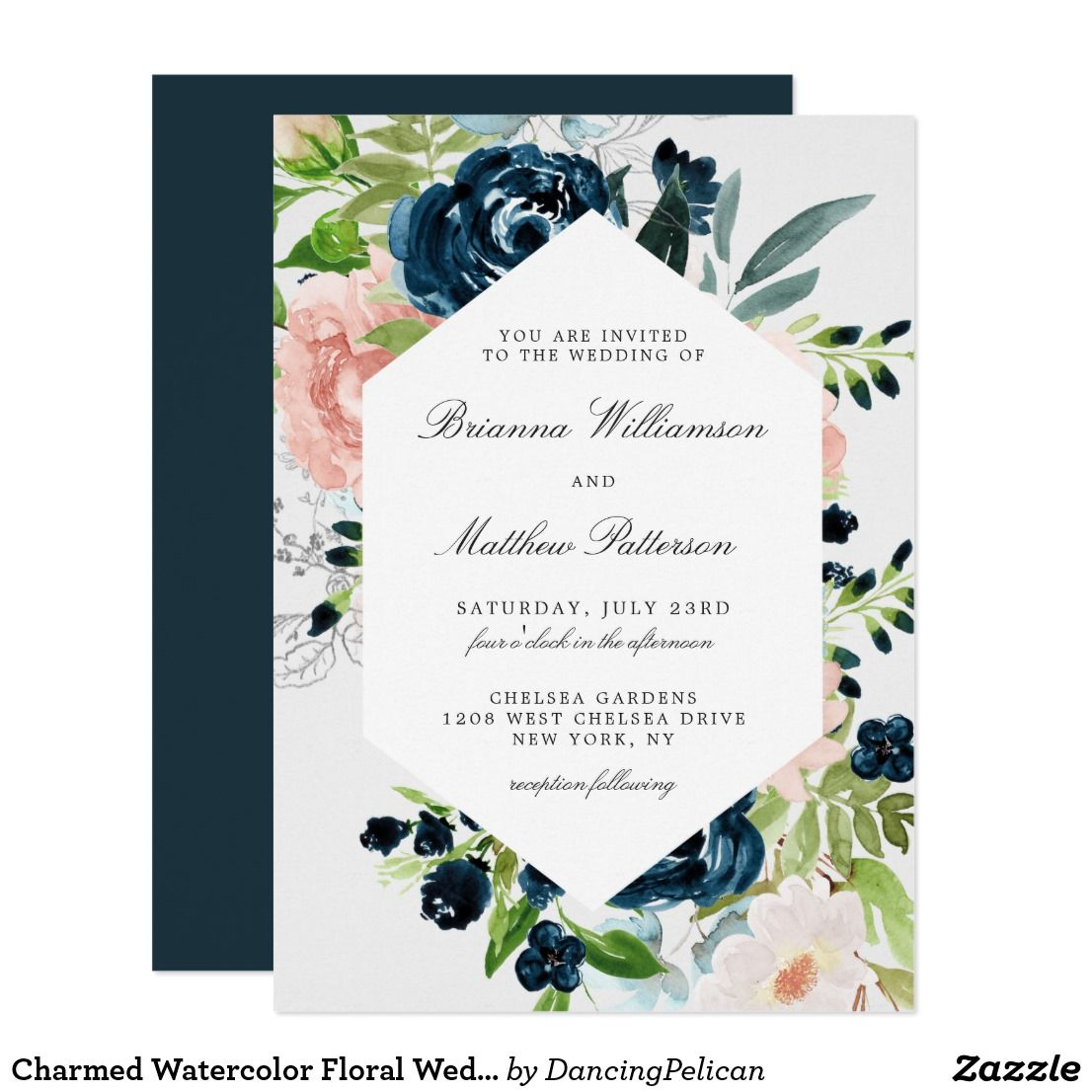 Charmed Watercolor Floral Wedding Invitation Zazzle Com Blue