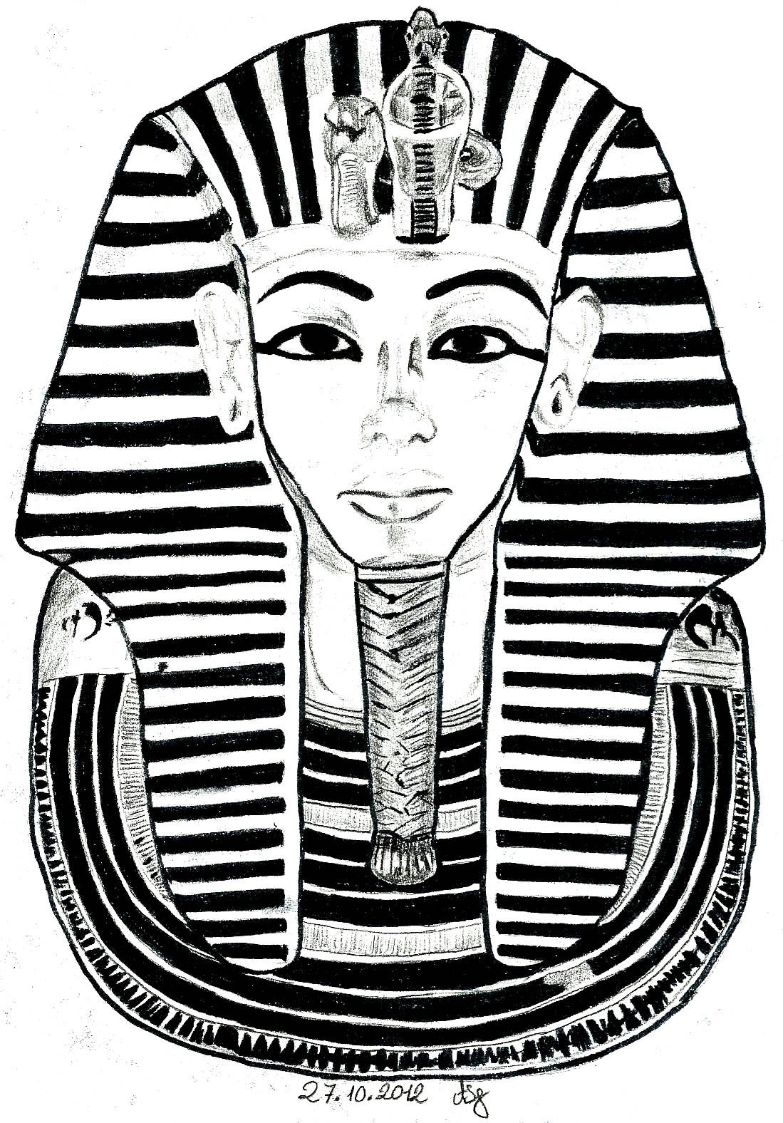 Free coloring page «coloring-egypt-mask-toutankhamon». The Famous ...