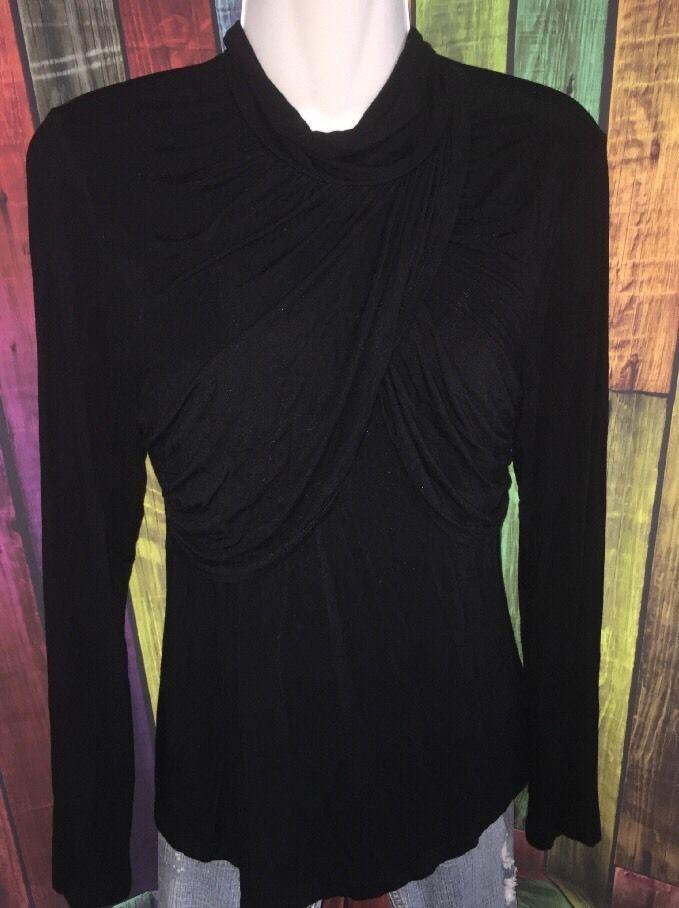 SPENSE Juniors / Womens M - Viscose Spandex Black Long Sleeve Drape / Wrap Top  | eBay