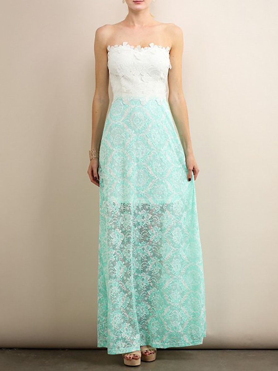 AdoreWe #StyleWe Aquarius Aqua Floral Evening Strapless Lace Maxi ...
