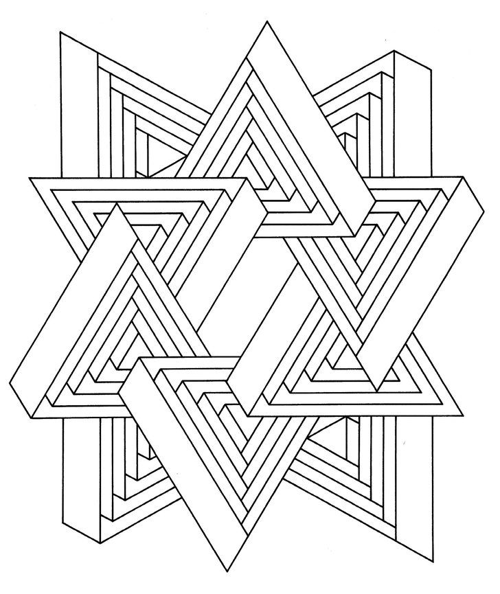 victor vasarely coloring pages | Get the coloring page: Triangles | Rajzok, Kreatív ötletek ...