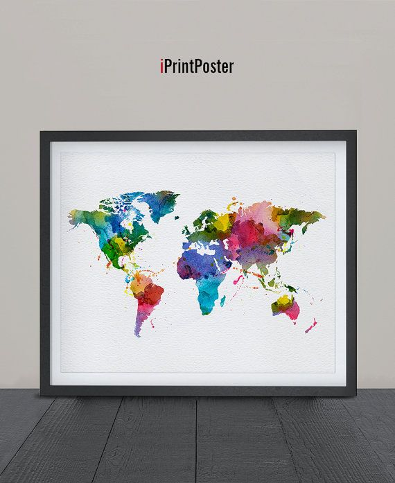 World map art print world map poster world map watercolour art world map art print watercolor world map poster iprintposter gumiabroncs Gallery