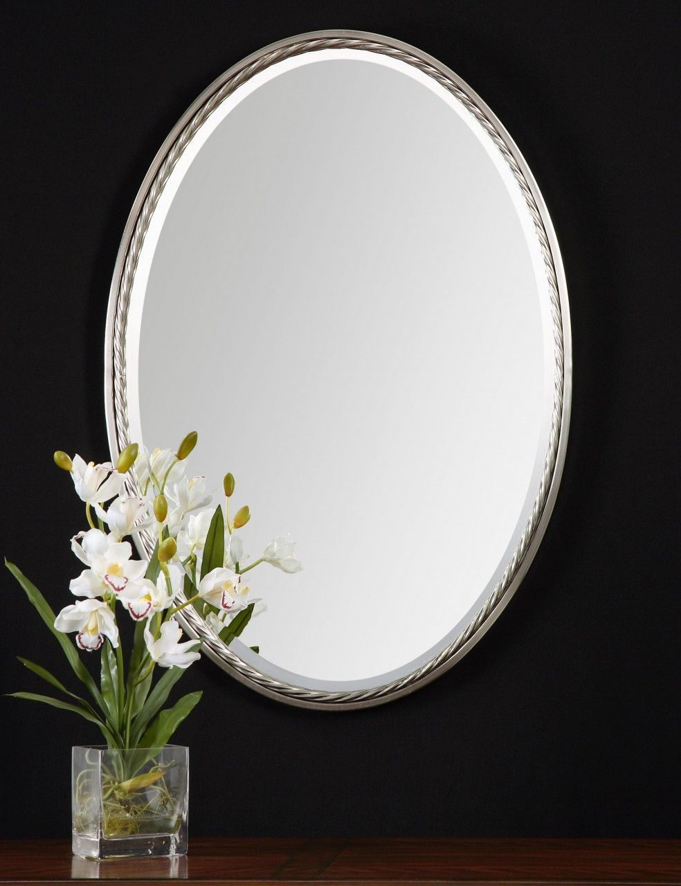Bathroom Small Oval Bathroom Mirror With New Decorative Design From Good Looking Oval Bathroo Brushed Nickel
