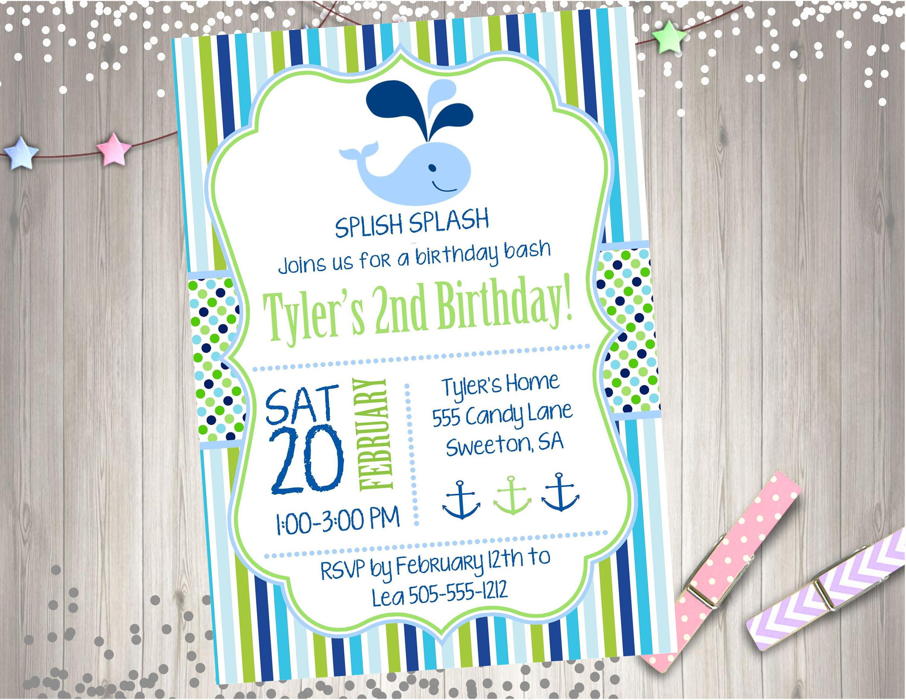 Whale Birthday Invitation invite Boy birthday 1st birthday party ...