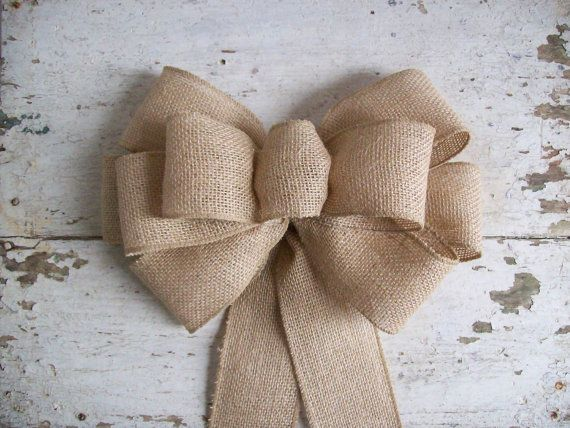 Burlap Bow Pew Bow Chair Bow Rustic Decoration Wreath