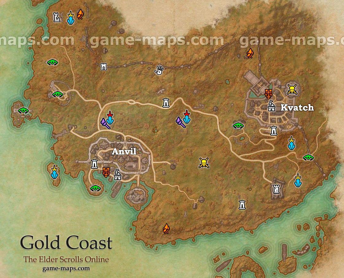 Gold Coast zone map. Added with the Dark Brotherhood DLC ...