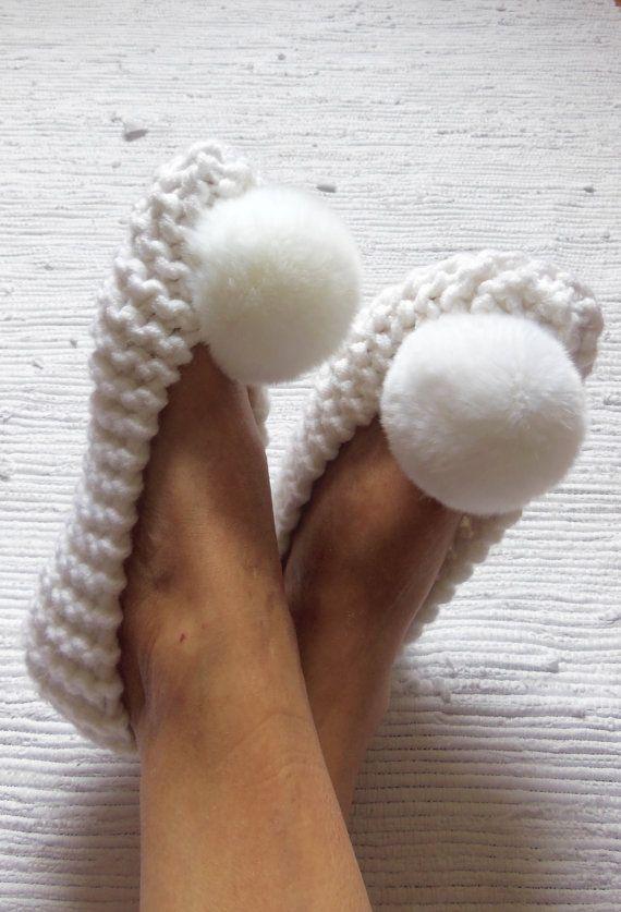 6992cf922a90b White Chunky slippers for women Nena Knit Women's by NENAKNIT | Knit ...