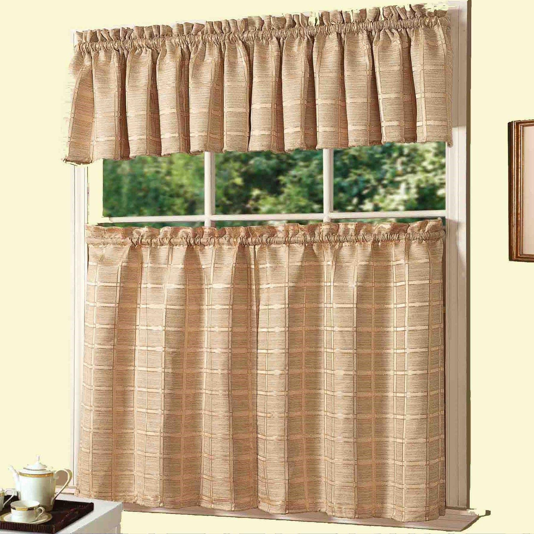Jeanette 3 Piece Kitchen Curtain Set Kitchen Curtain Sets