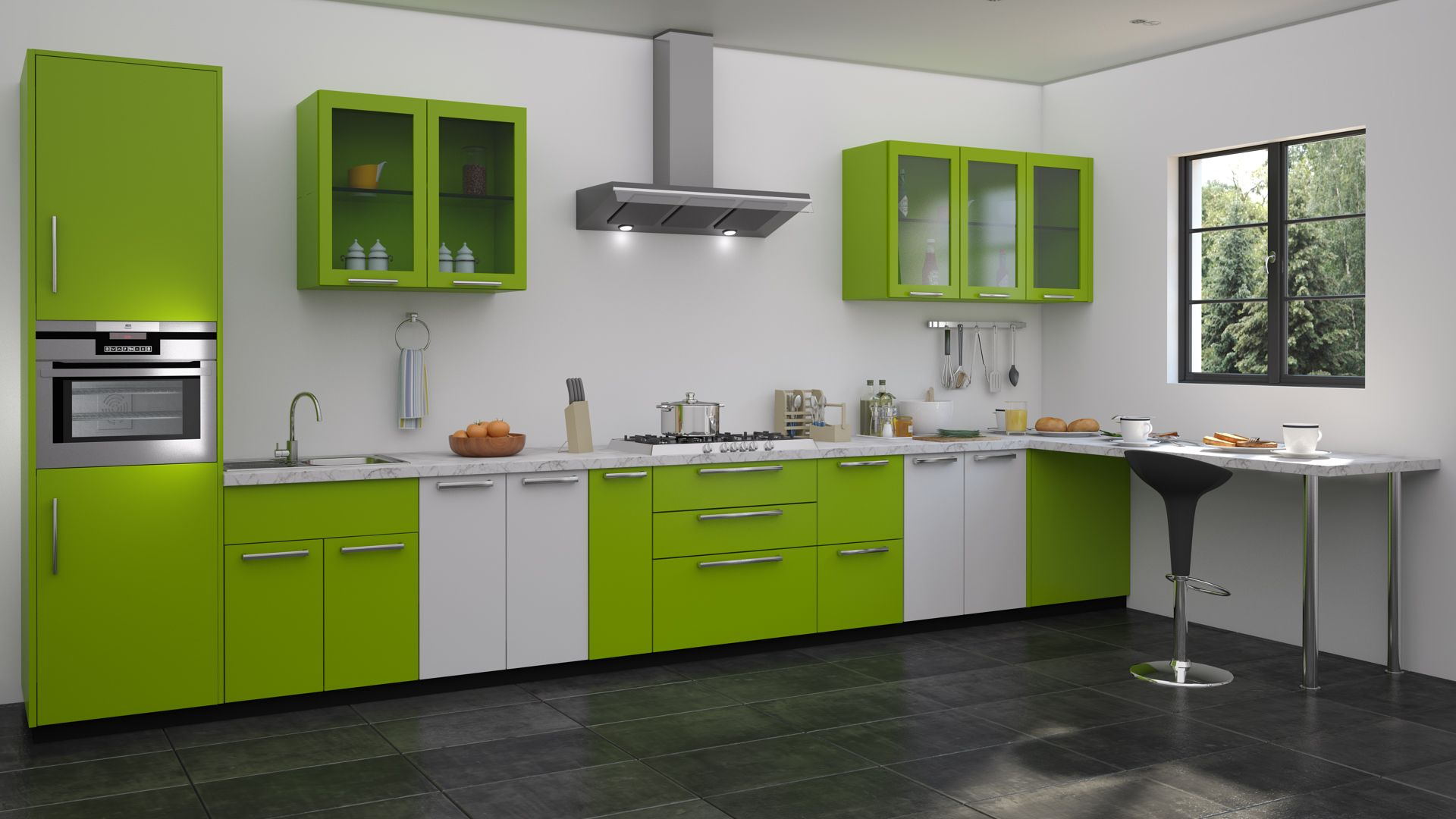 Green modular kitchen designs straight kitchen designs for Green and white kitchen designs