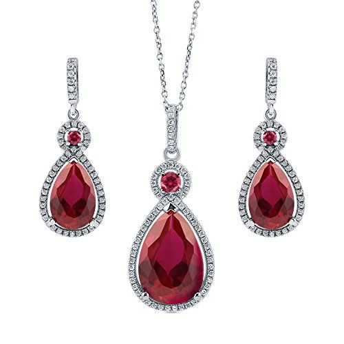 BERRICLE Rhodium Plated Sterling Silver Pear Cut Cubic Zirconia CZ Halo Necklace and Earrings Set *** Find out more about the great product at the image link.