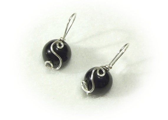 Photo of Monogram black onyx earrings, personalized jewelry with initial, special gift for women