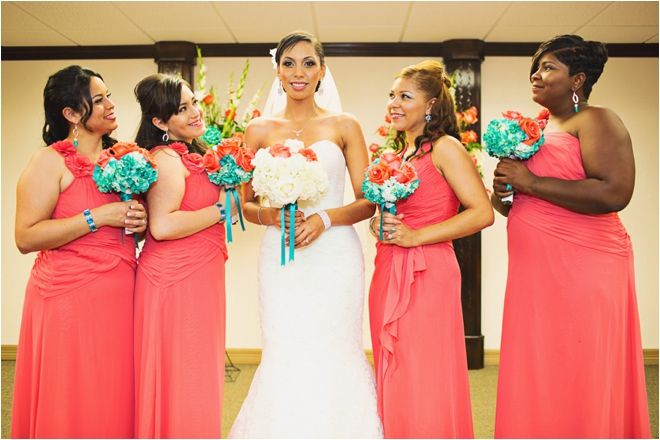 coral and turquoise bridesmaid dresses