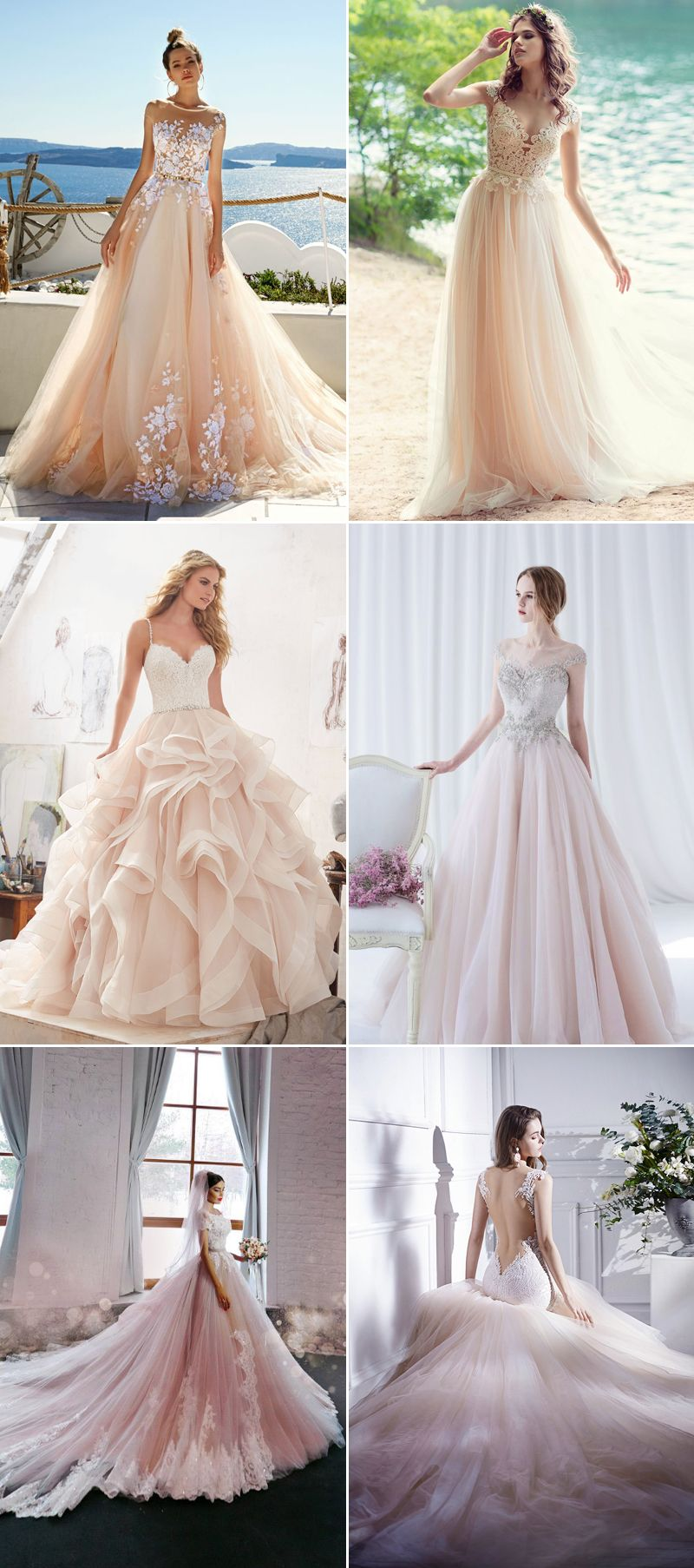 A Dash Of Romance 30 Wedding Dresses With A Touch Of Pink Wedding Dresses Beautiful Wedding Dresses Colored Wedding Gowns