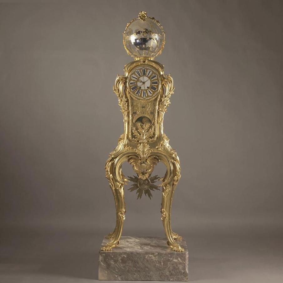 [Ref: B68112] An Exceptional and Highly Important Louis XV Style Astronomical Regulator Clock Attributed to Fran?ois Linke, After The Model by Passement and Caffieri for Louis XVThe bronze stamped 'Vve Leloutre' and 'GF'Linke Index No. 1459.This extraordinary gilt bronze regulator has an armillary sphere adorned with stars, banded by an equatorial ring, decorated with the signs of the zodiac, the months of the year and foliate garlands to the upper section. The gilt bronze case is richly…