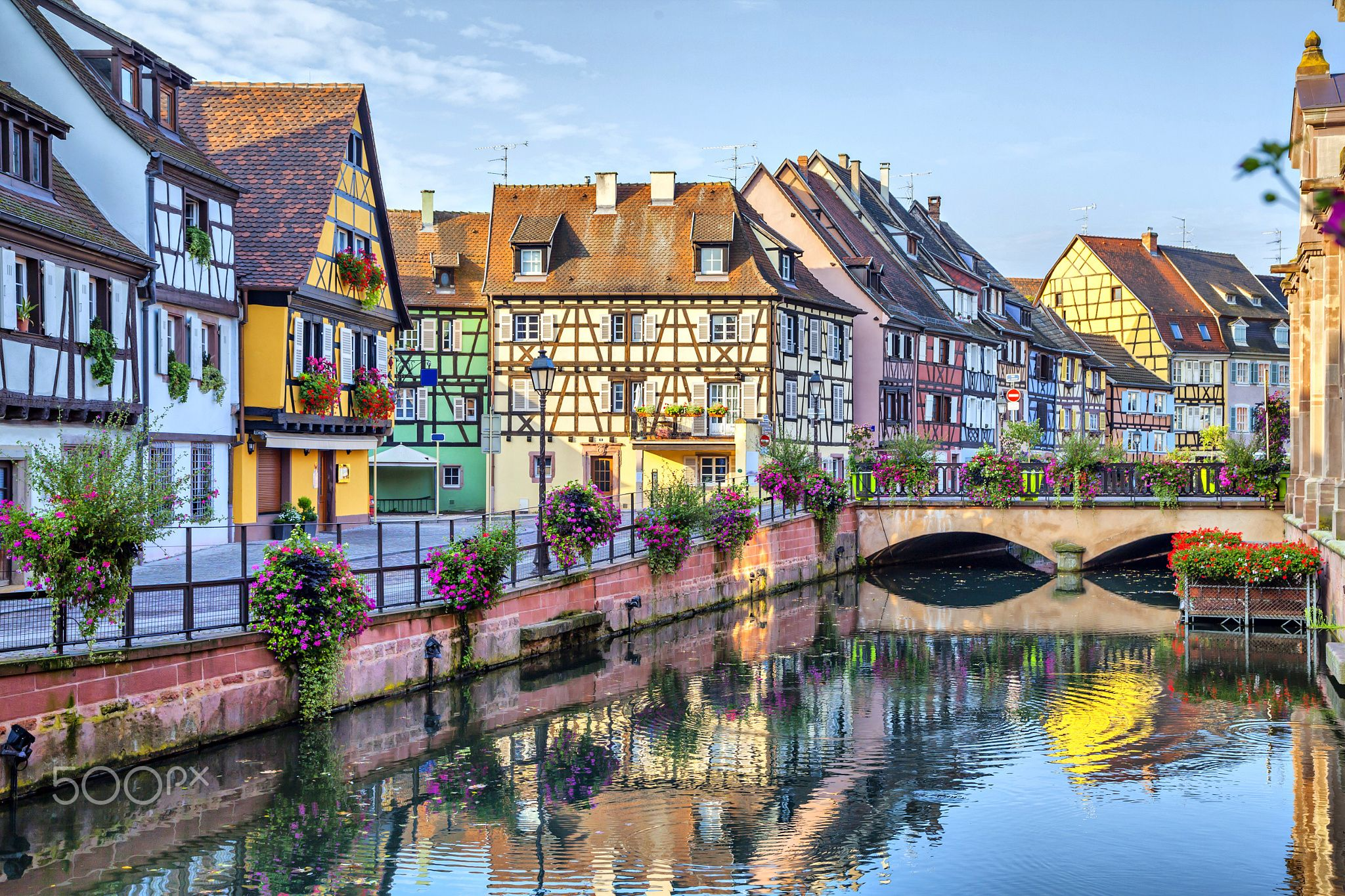 Colorful traditional french houses in Colmar - Colorful traditional french houses on the side of river Lauch in Petite Venise, Colmar, France