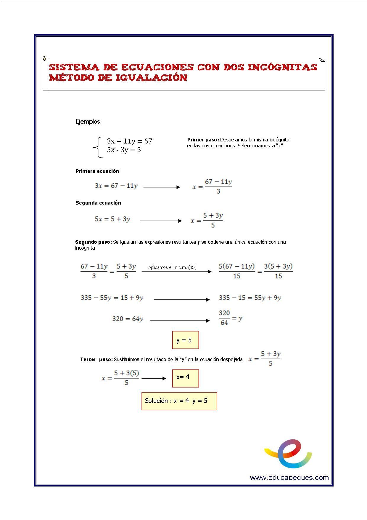 Sistemas de ecuaciones de dos incognitas. Matemáticas secundaria ...