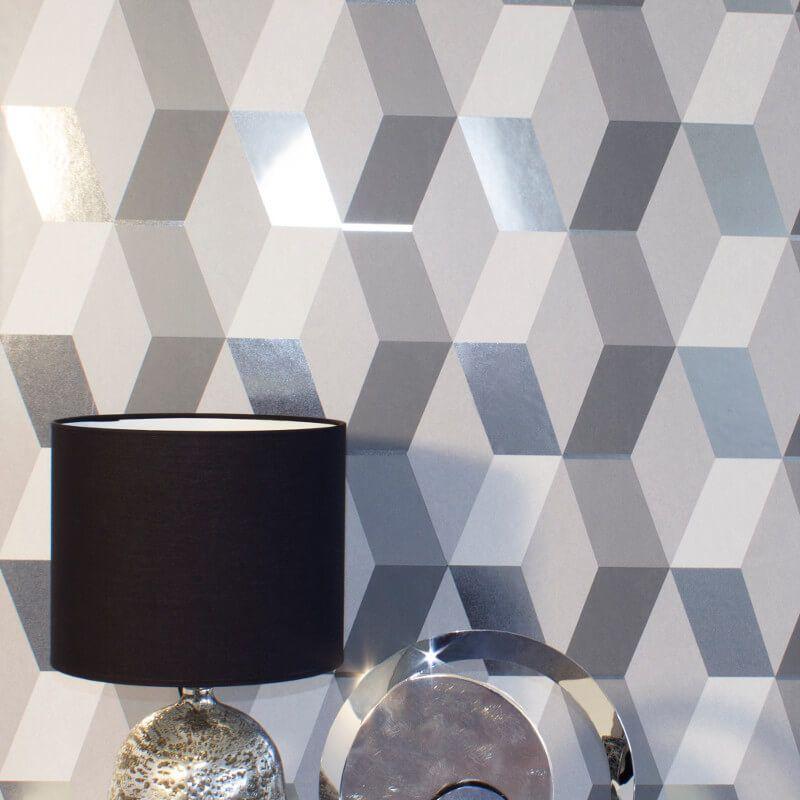 Crown Arendal Geometric Coral Pink Metallic Textured Vinyl Wallpaper M1478