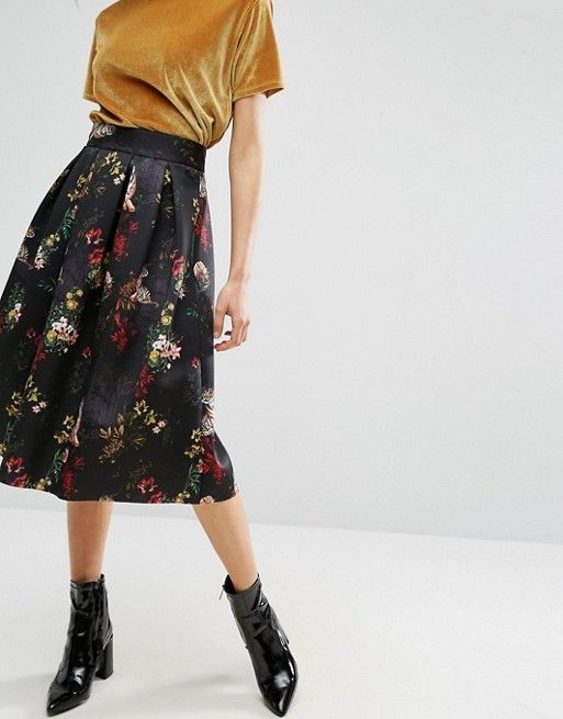 ASOS Scuba Prom Skirt in Tiger Floral Print