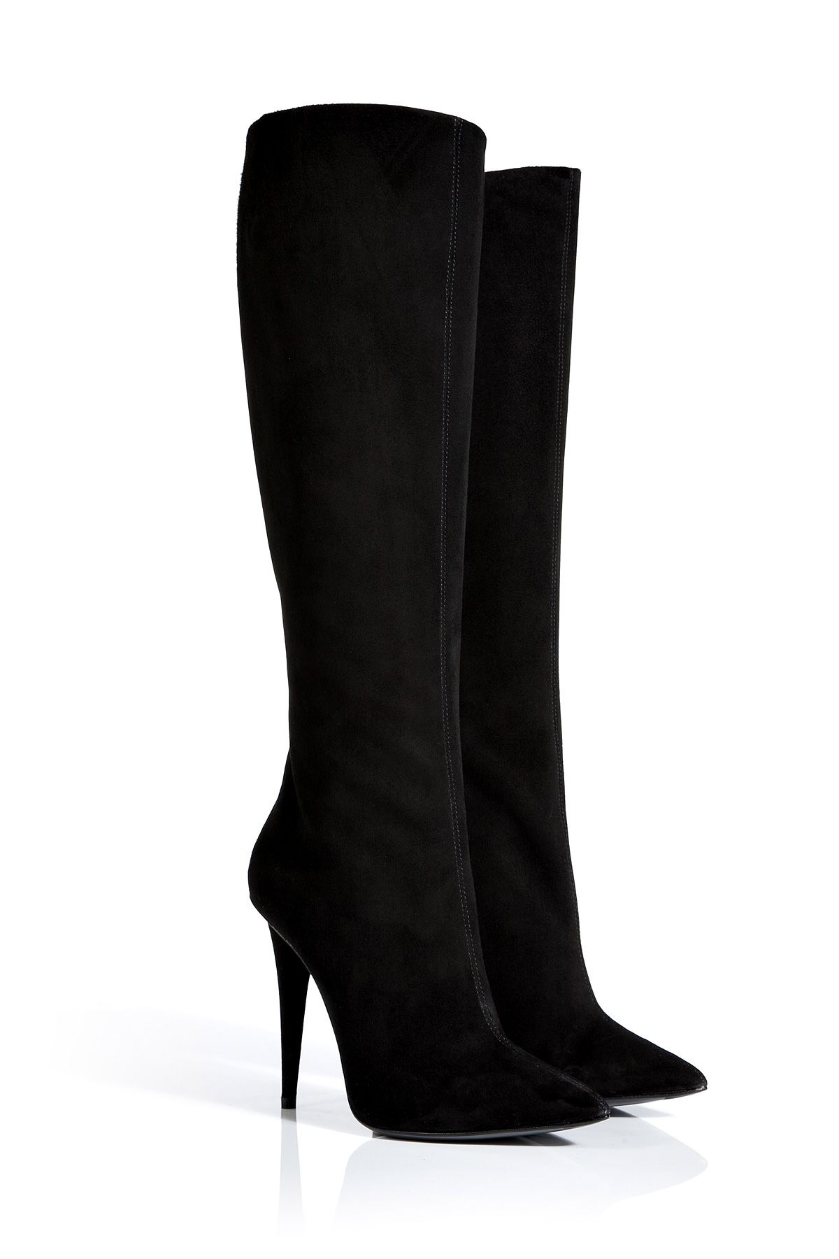Black Suede Pointed-Toe Boots / Giuseppe Zanotti.