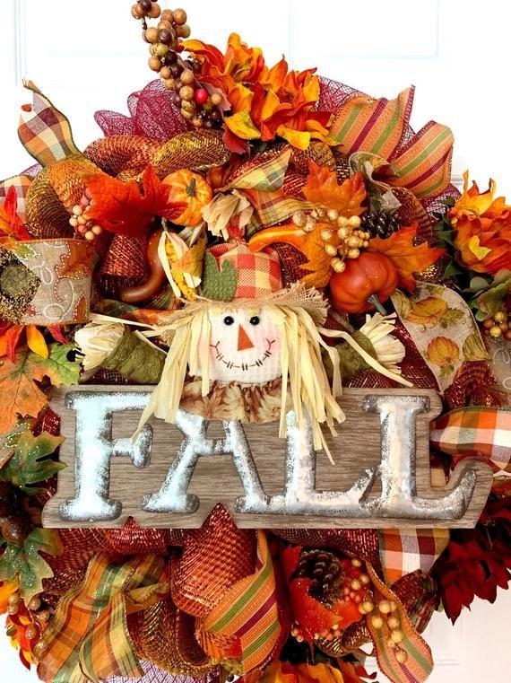Items similar to Fall wreath, scarecrow wreath, harvest wreath, fall decor, decomesh fall wreath, autumn wreath, halloween wreath, on Etsy