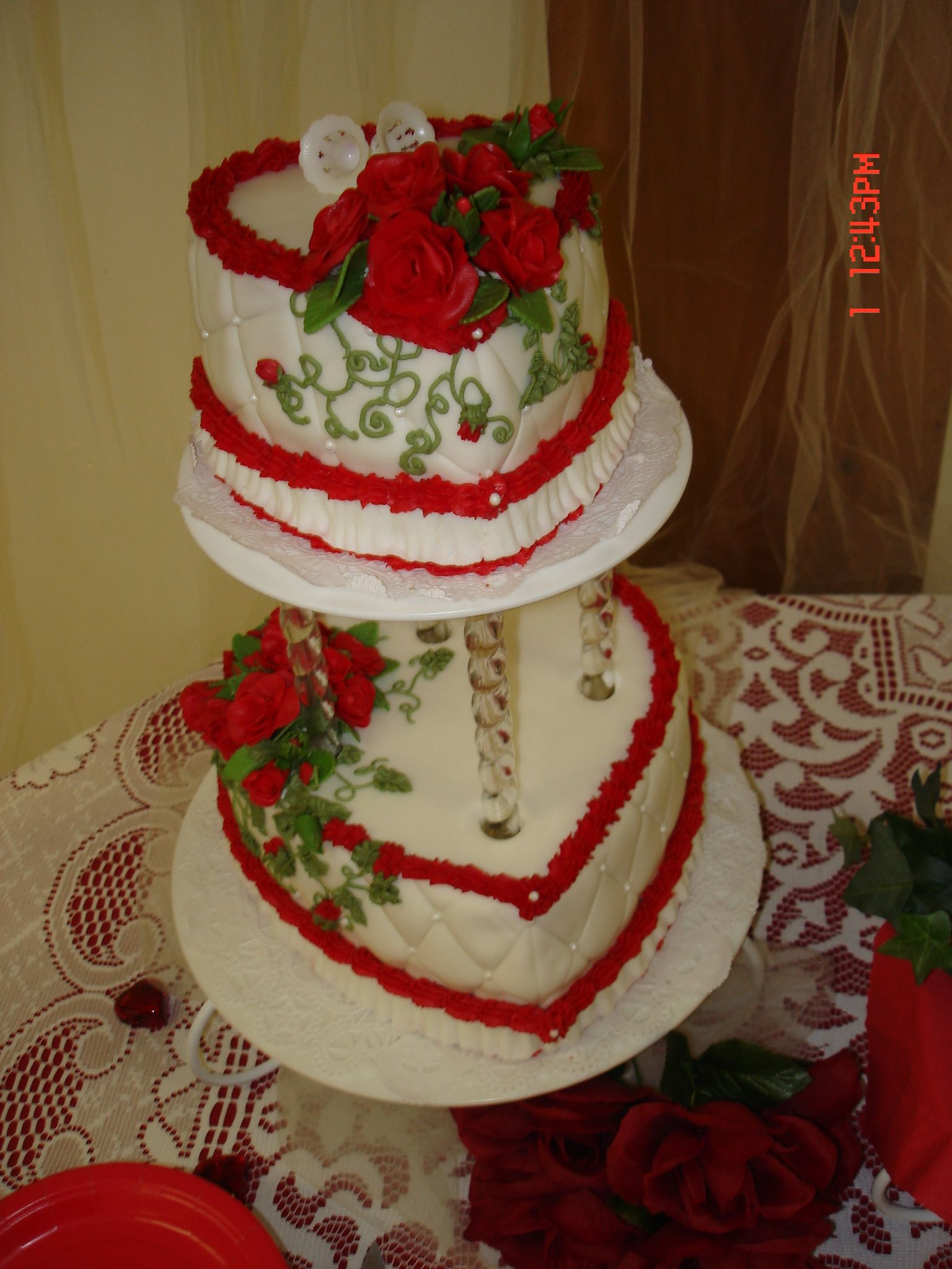 """Quilted Roses"" Bridal Shower cake."