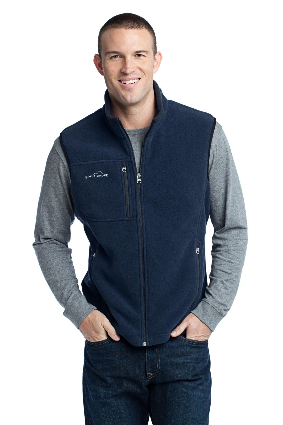 Men's custom navy blue polyester fleece full zip up with embroidered logo  on left chest with