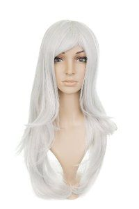 Silver Grey Medium Length Anime Cosplay Costume Wig