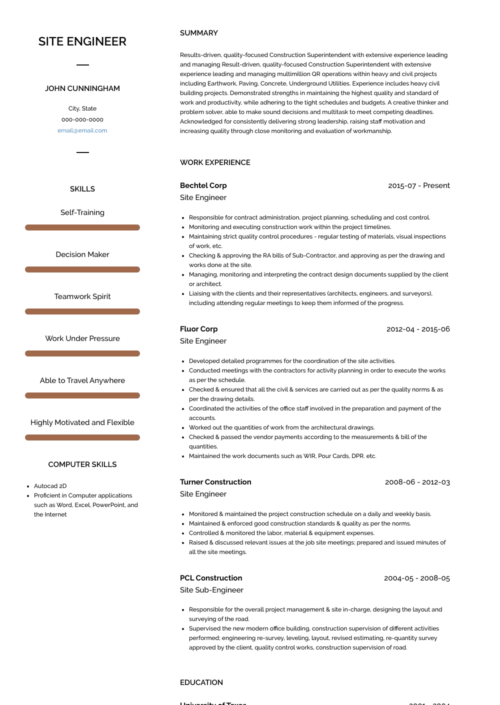 Best Site Engineer Resume Sample and Template for 2020 in