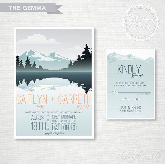 Rustic Mountain Wedding Invitation, Wedding