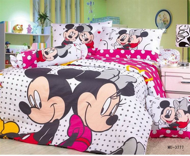 Fast shipping brand mickey and minnie bedding set queen size printing kids  Cartoon comforter covers bed. Fast shipping brand mickey and minnie bedding set queen size
