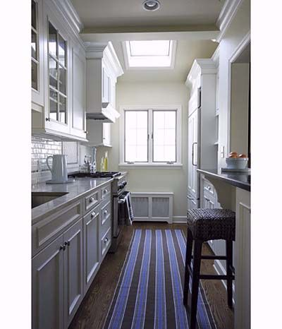 Elegant space saving galley kitchen with pass through for Galley kitchen with breakfast bar