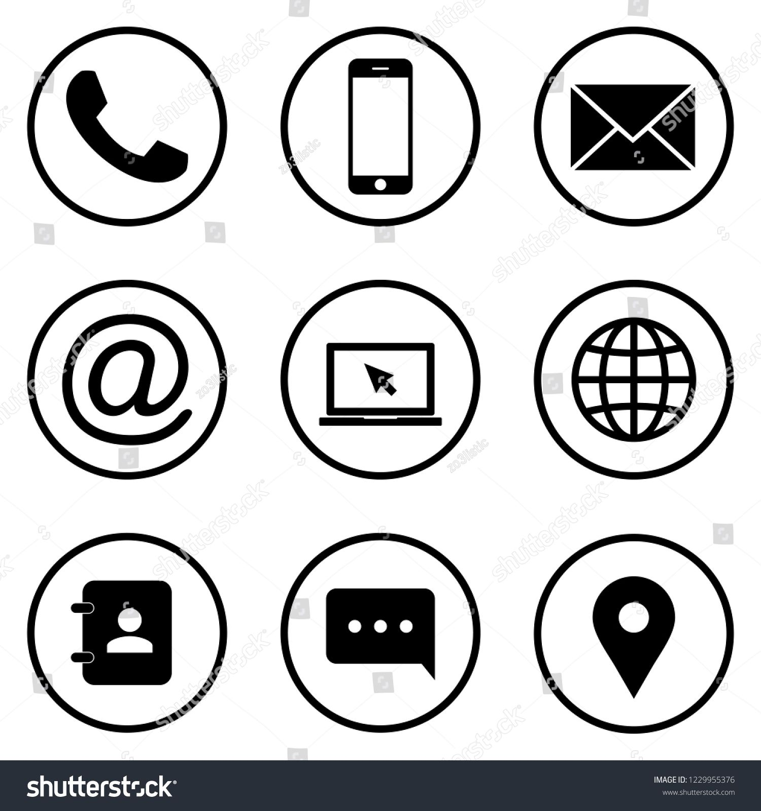 Contact Icons Web Icon Set Phone Website Mail Time Call Home Printer Laptop Calendar Chat Edit Ad Ad Web Icons Icon Set Wedding Vector Icons