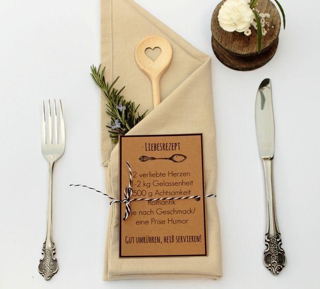 Gastgeschenk für Hochzeit Herz Kochlöffel Liebesrezept mit