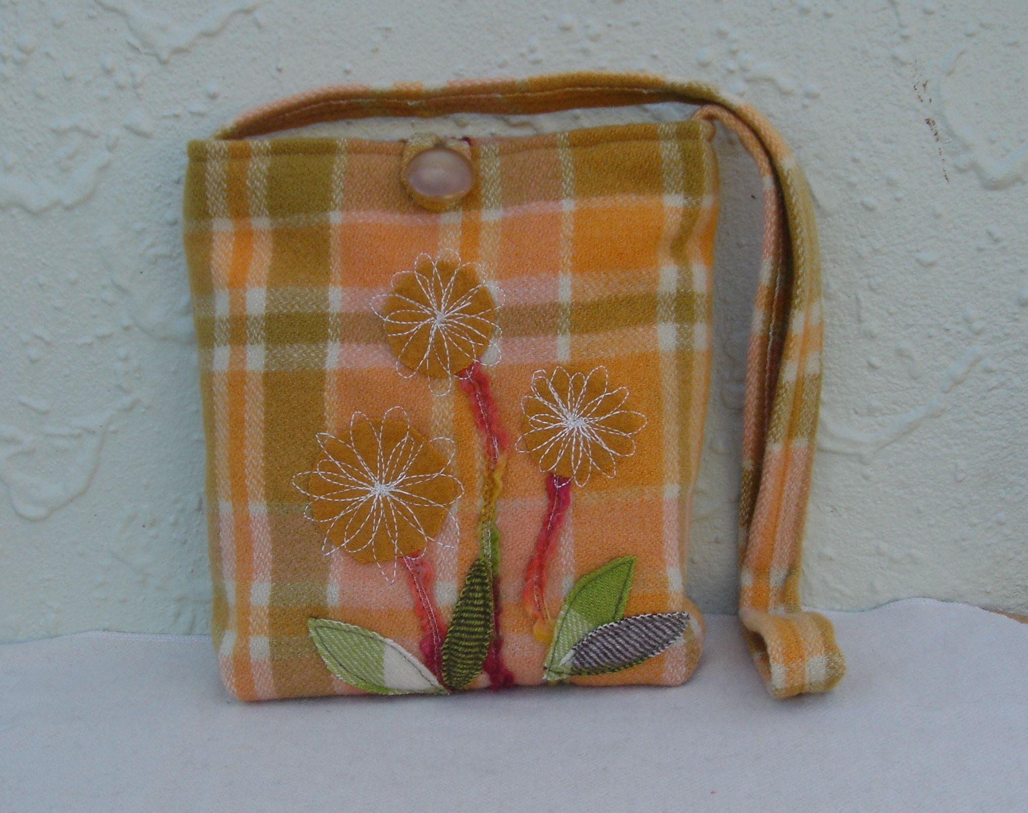 Repurposed woolen blanket. A lovely Spring bag.