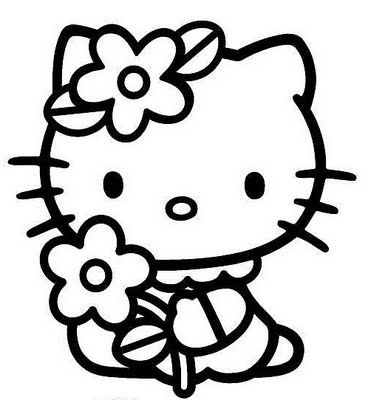 Hello Kitty with flower free coloring pages | Carte fait a la main ...