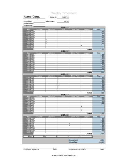 Hourly Timesheet Weekly Printable Time Sheets Free To Download