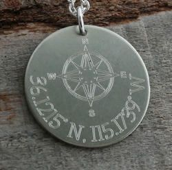 Coordinates Compass Anniversary Personalized Necklace - Engraved