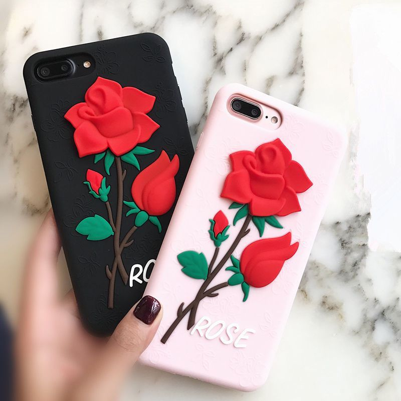 new style 71253 a5f19 Cartoon 3D Rose Flower Soft Silicone Case Cover Phone For Iphone 6 ...
