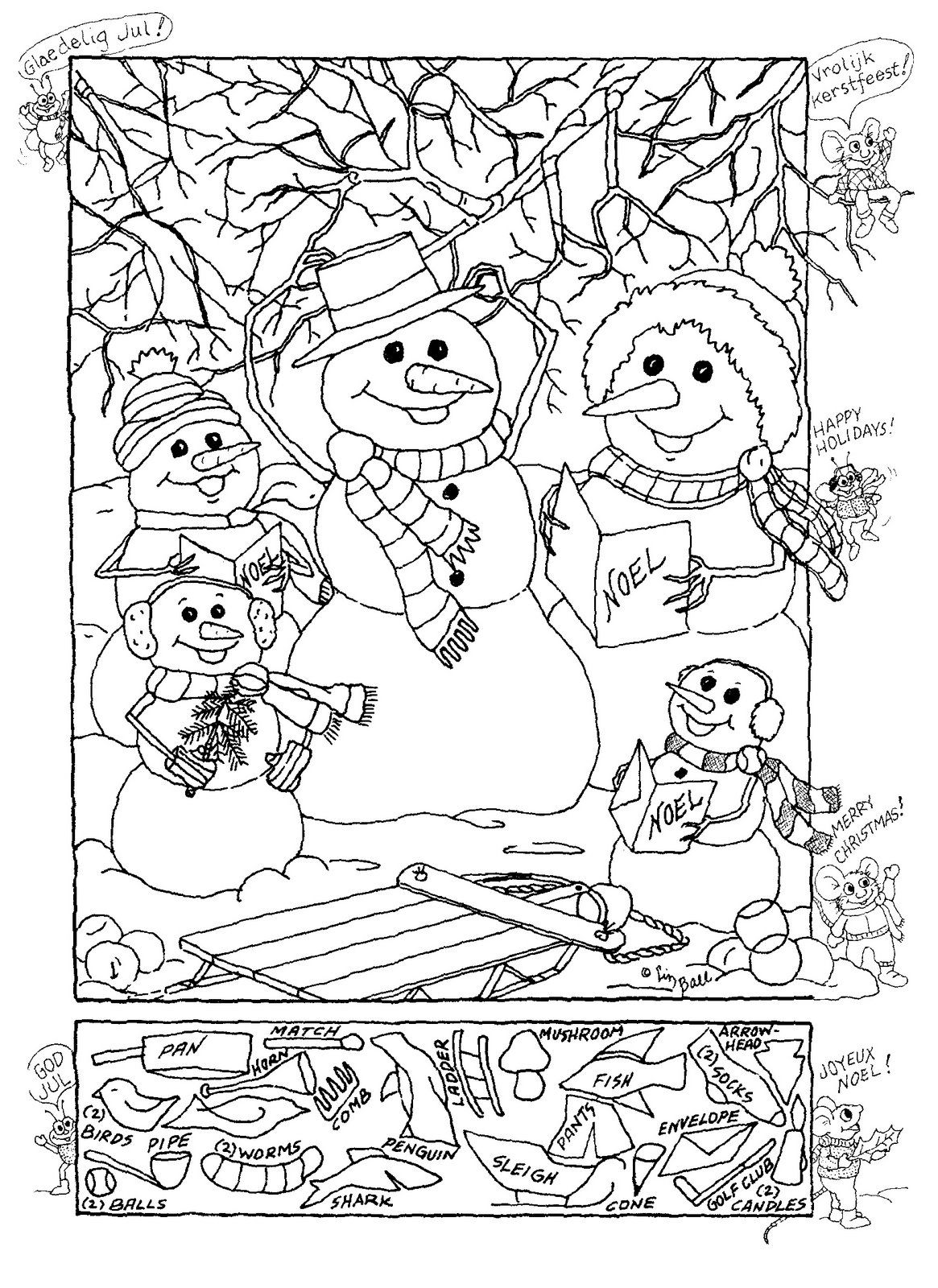 Snowman Hidden Picture Puzzle For Christmas