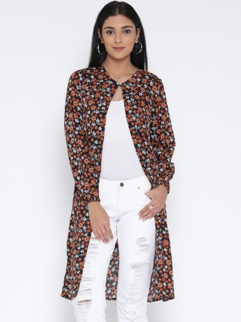 Buy Sera Black & Orange Printed Longline Shrug - Shrug for Women | Myntra